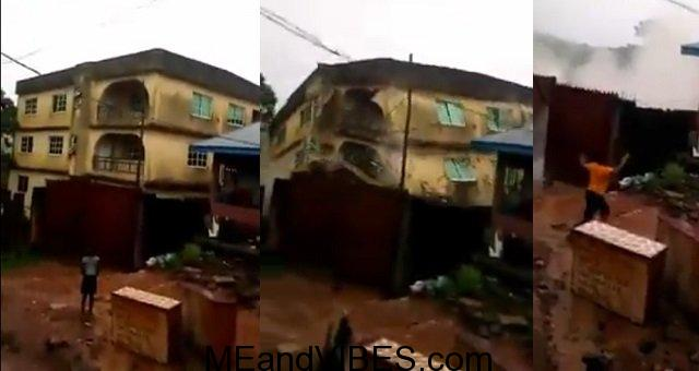 Many escape death as building collapses during a downpour at Onitsha, Anambra State