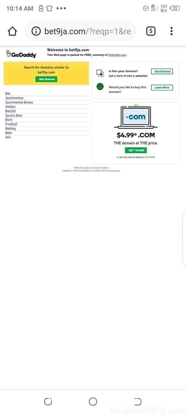 Bet9ja.com Website Gets Hacked & Resold To Bet9ja2.com As Godaddy Causes Problem