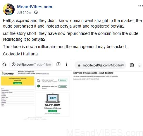 Bet9ja.com Website Gets Hacked & Resold To Bet9ja2.com As Godaddy Causes Problem
