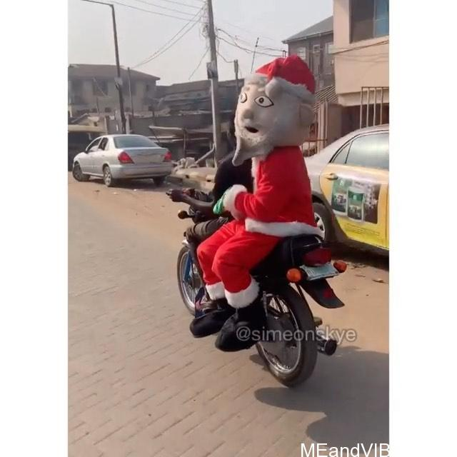 Video: Check Out This Hilarious Video As Santa Claus (Father Christmas) Enters Okada In Nigeria