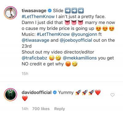 """Marry me now before my bride price shoots up"" – Tiwa Savage declares on Instagram; Davido reacts (Photo)"