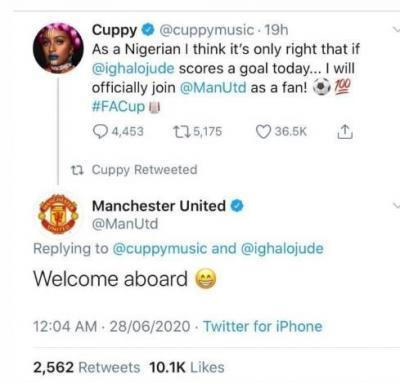Man Utd Officially Welcomes DJ Cuppy As Fan (Photo)