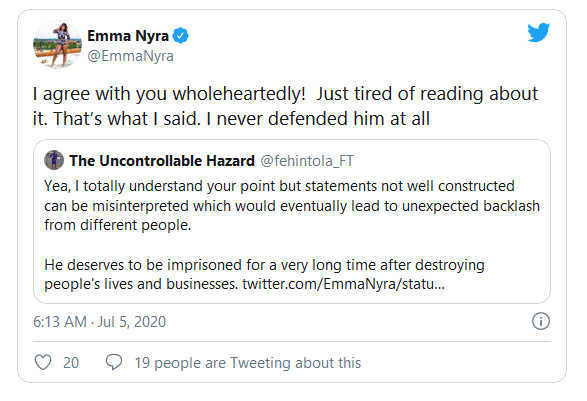 "Emma Nyra Apologizes For ""Defending"" Hushpuppi"