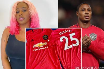 Ighalo officially welcomes newest fan, DJ Cuppy to Manchester United (Photo)