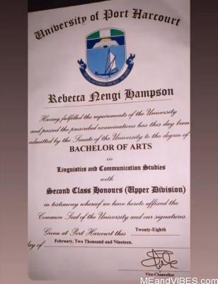 Nengi's original certificate
